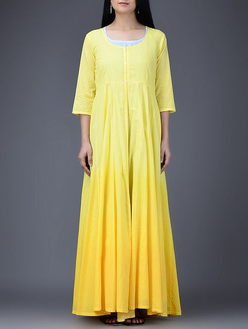 Blue-Yellow Ombré Layered Cotton Anarkali with Slip (Set of 2)-S