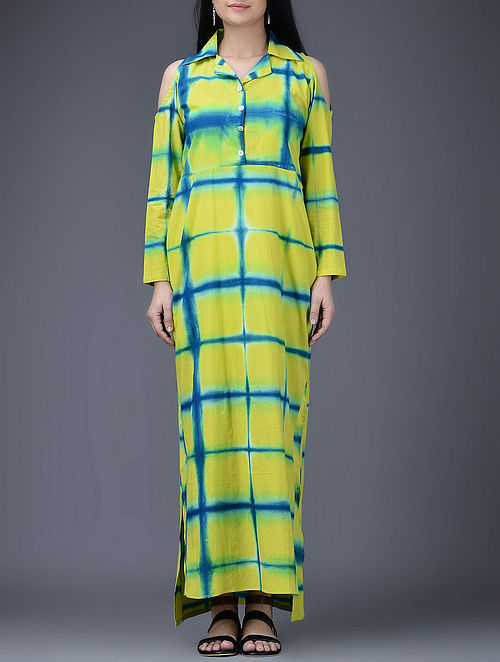 Lime Green-Blue Clamp-Dyed Asymmetrical Cotton Dress-L