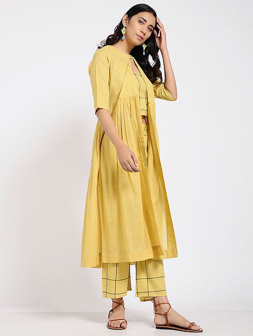 Mustard Cotton Crop Top with Pants and Jacket (Set of 3)