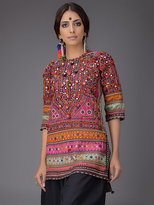 Buy Multicolored Cotton Silk Kurta With Vintage Sindhi Embroidery