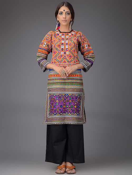 Buy Multicolored Silk Kurta With Vintage Sindhi Embroidery And Coins