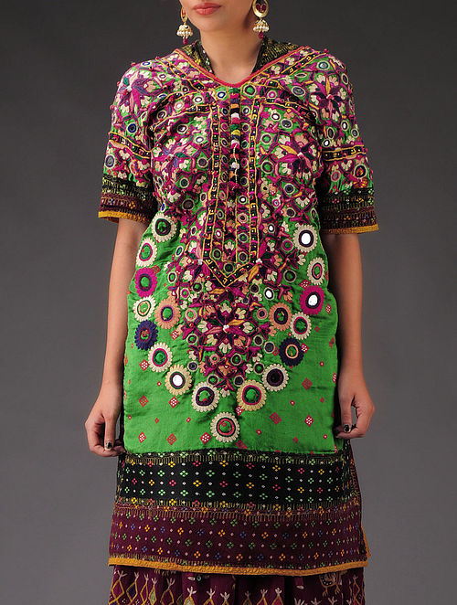 Buy Rabari Beads And Mirror Work Hand Embroidery Dress Online At