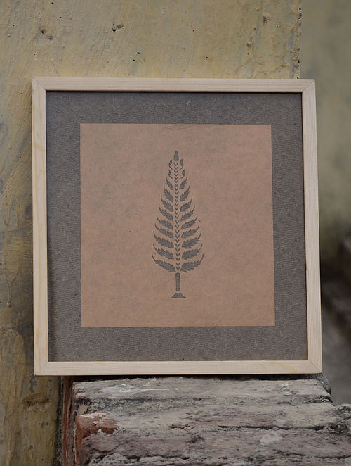 Light Rust Pine Sanjhi Art 10.5in X 10in X 1in