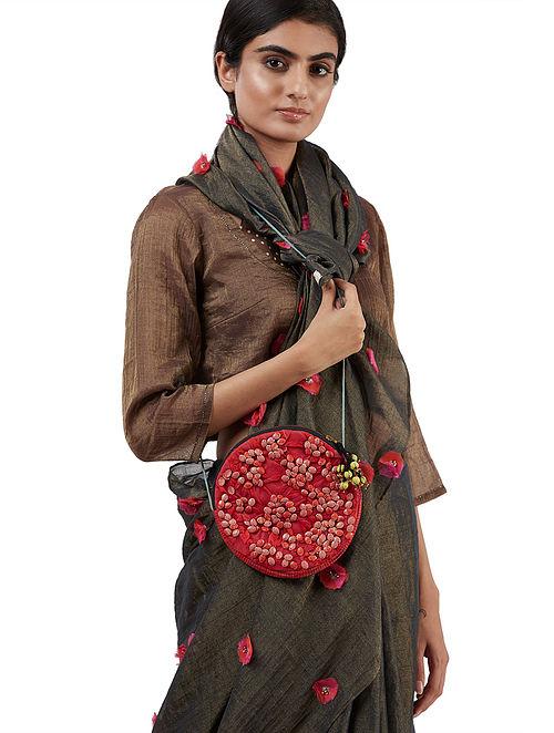 Red Handcrafted Embellished Silk Sling Bag