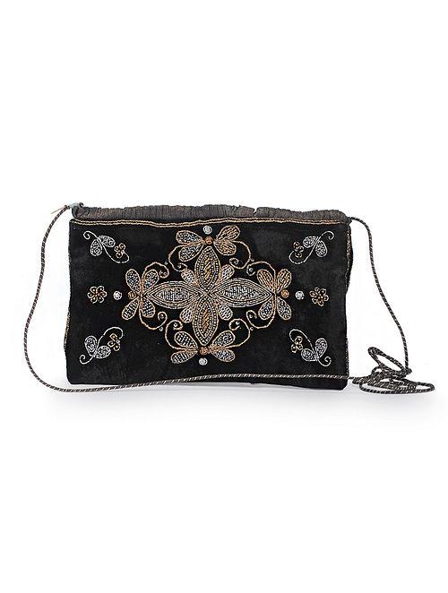 Black Silk Velvet Sling Bag