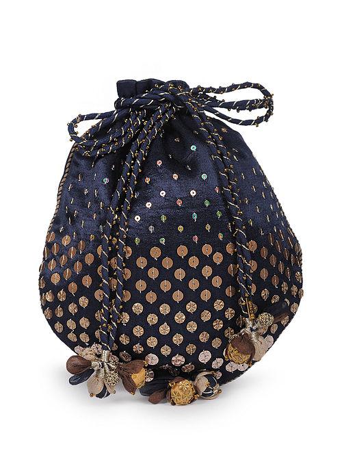 Blue Cotton Silk Potli