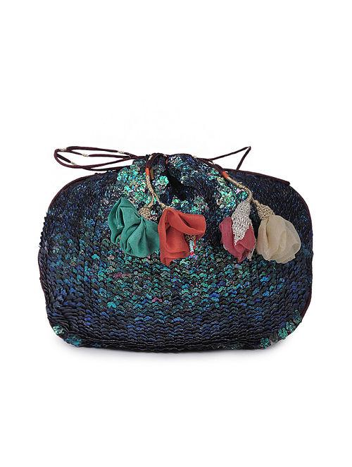 Navy Blue Sequined Cotton Silk Potli