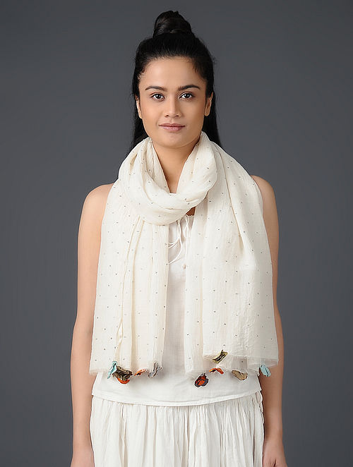 Ivory Embroidered Chanderi Scarf with Tassels