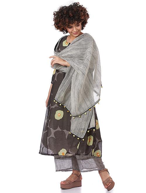White-Black Printed Silk-Cotton Dupatta