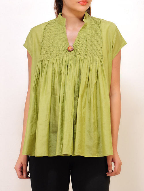 a7b72f502c3f4 Buy Parrot-Green Yoke Pintuck Detailed Silk Top Online at Jaypore.com