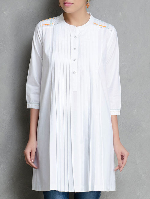 White Pleated & Stitch Detailed Cotton Tunic  by Shades of India