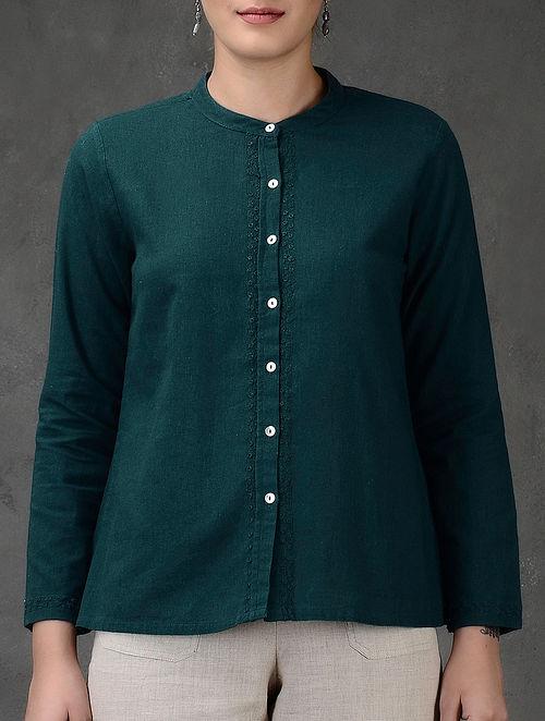 Blue Embroidered Mandarin Collar Flax Shirt