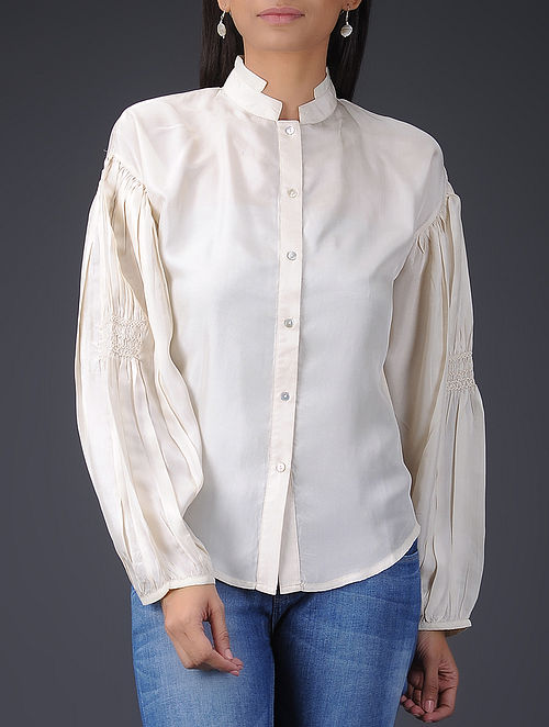 Ivory Silk Shirt with Smocked Sleeves