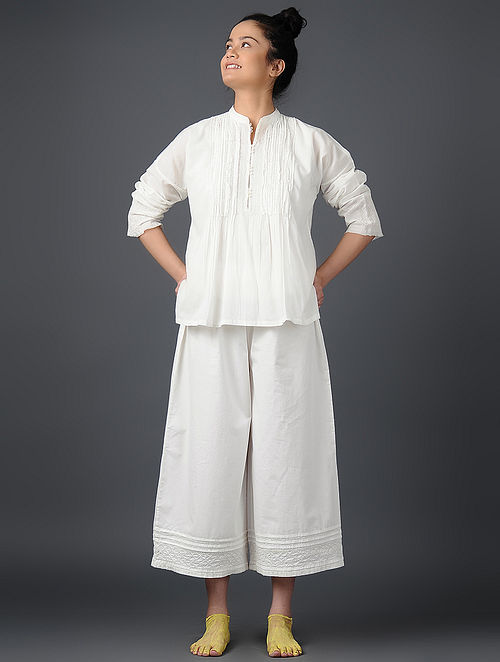 Ivory Pintuck Cotton Voile Top
