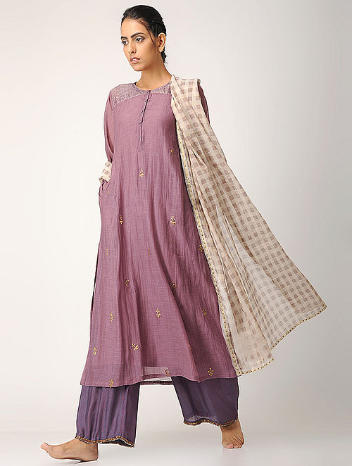Purple Embroidered Chanderi Kurta with Slip (Set of 2)