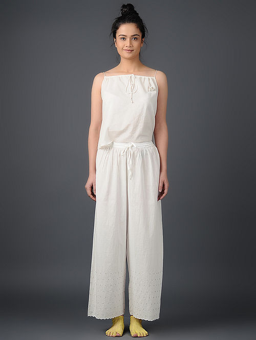 Ivory Elasticated-waist Embroidered Cotton Voile Pants