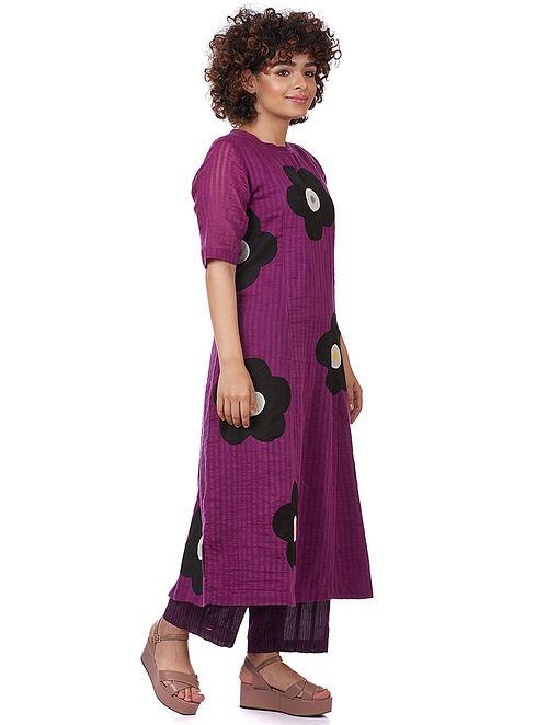 Purple Silk-Cotton Kurta