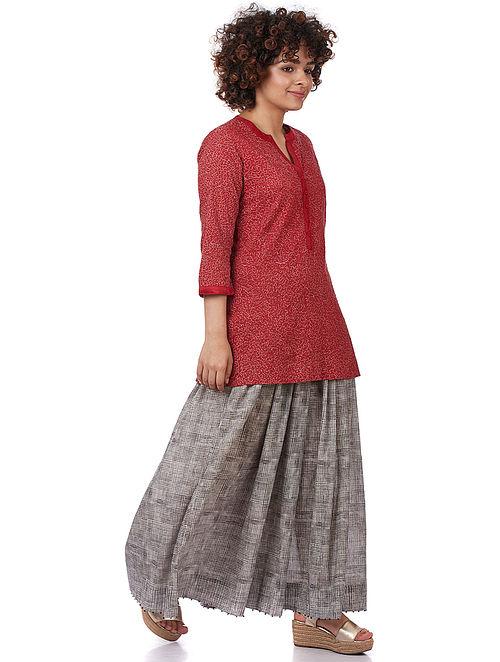 Red Cotton-Silk Kurta