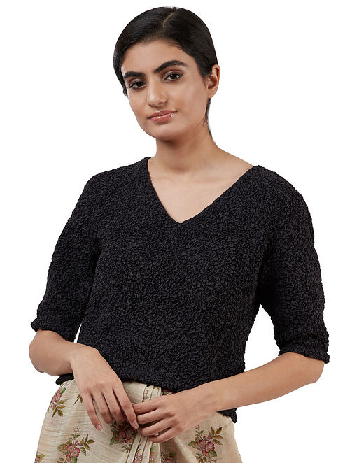 Black Handwoven Silk Cotton Blouse