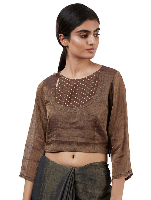 Brown Handwoven Tissue Blouse