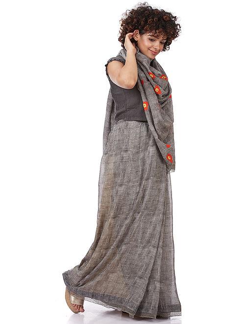 Grey-Check Printed Silk-Cotton Saree