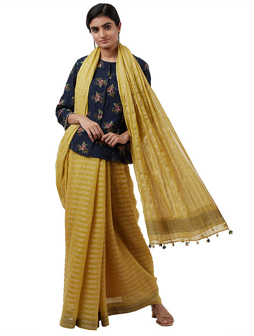 Yellow Handwoven Silk Cotton Saree