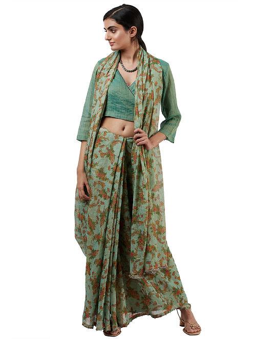 Green-Brown Handwoven Tissue Saree