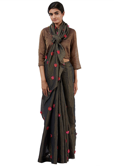 Green-Black Handwoven Tissue Saree