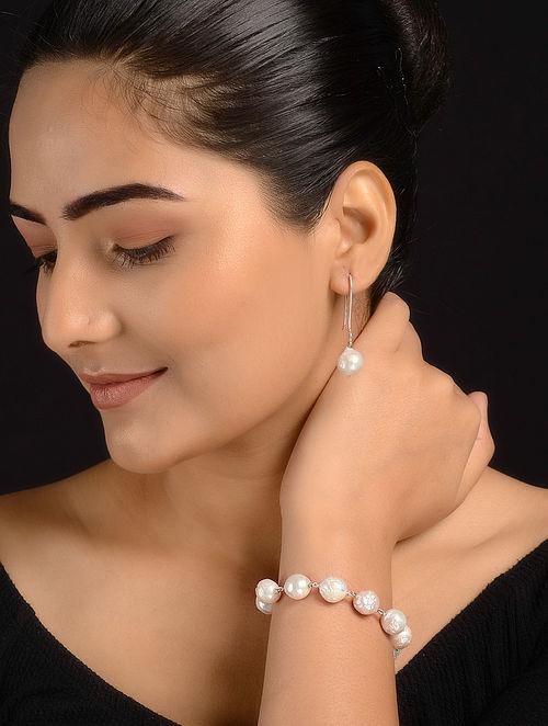 Baroque Pearl Beaded Silver Bracelet with Earrings (Set of 2)