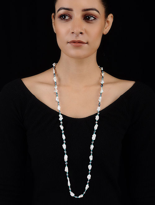 Baroque Pearl and Turquoise Beaded Necklace