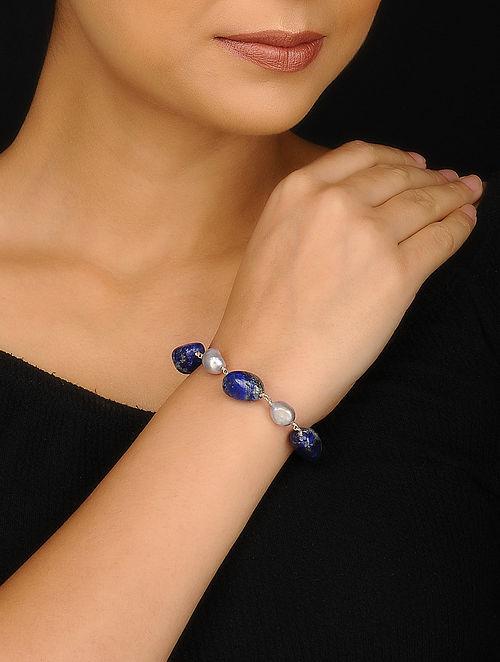 Lapis Lazuli and Baroque Pearl Silver Bracelet
