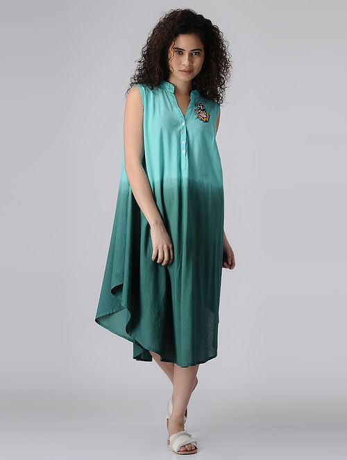 Blue Ombre Flared Cotton Dress