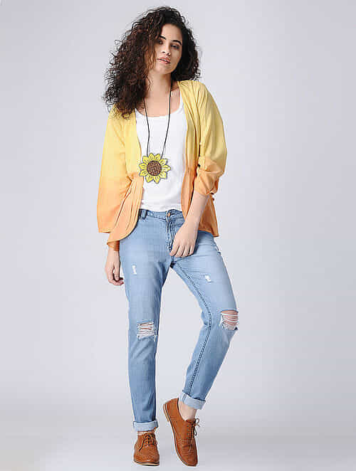 a3b8e9d78487c9 Buy Yellow Ombre Cotton Shrug with Gathers Online at Jaypore.com