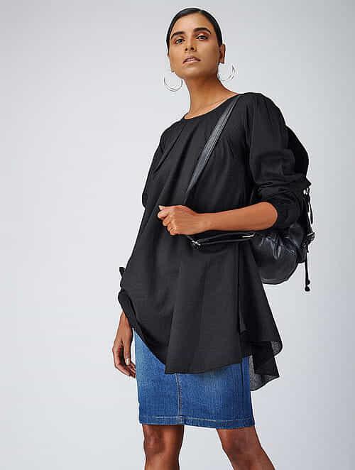 Black Cotton Dobby Tunic