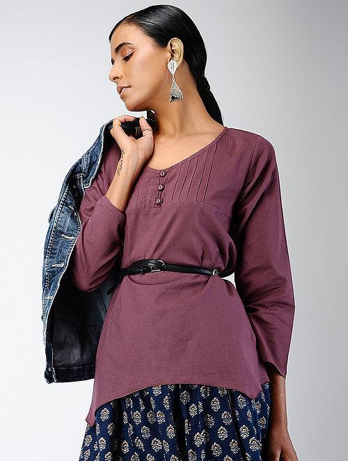 Purple Cotton Dobby Top with Pintucks