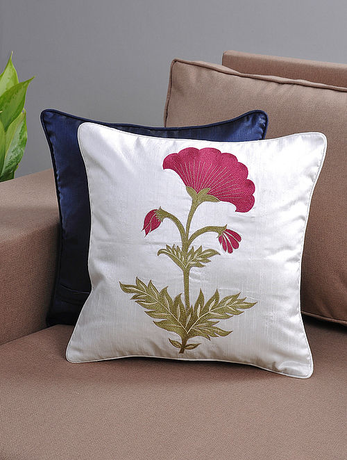 White-Maroon Resham-Embroidered Cushion Cover with Cotton Lining