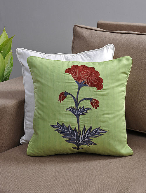 Green-Brown Resham-Embroidered Cushion Cover with Cotton Lining