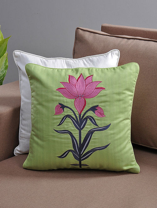 Green-Pink Resham-Embroidered Cushion Cover with Cotton Lining