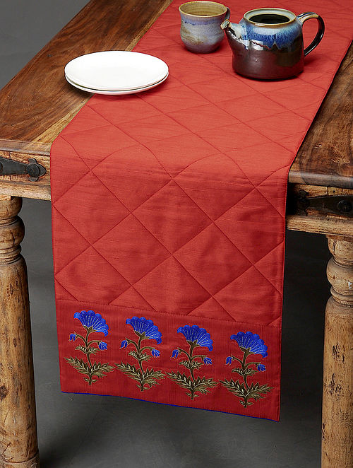 Red-Blue Boota-Embroidered Table Runner