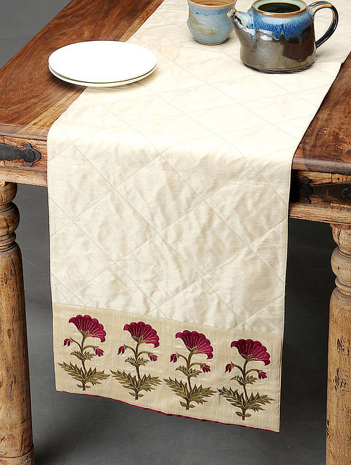 Ivory-Maroon Table Runner with Embroidered Bootas