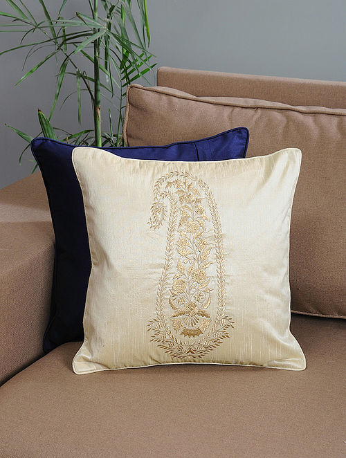 Ivory Ambi-Embroidered Cotton Cushion Cover with Zari