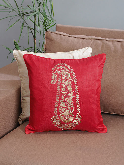 Red Ambi-Embroidered Cotton Cushion Cover with Zari