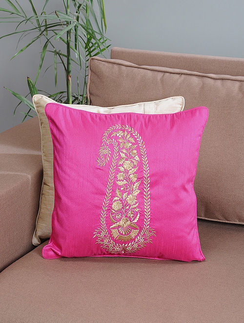 Pink Ambi-Embroidered Cotton Cushion Cover with Zari