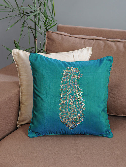 Aqua Ambi-Embroidered Cotton Cushion Cover with Zari