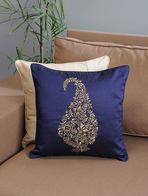 Navy Ambi-Embroidered Cotton Cushion Cover with Zari