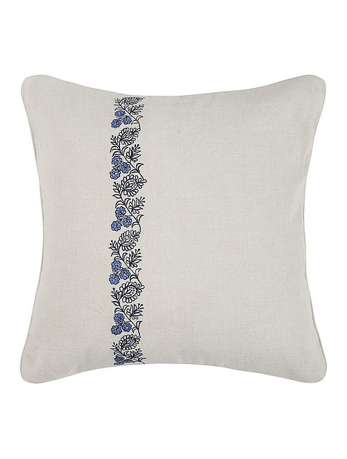 Blue Grey Embroidered Linen Cushion Cover With Fl Buta 16in X