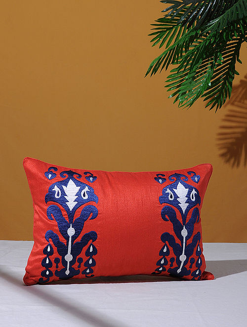 Ikat Inspired Red Poly-Dupion Cushion Cover (18in x 12in)