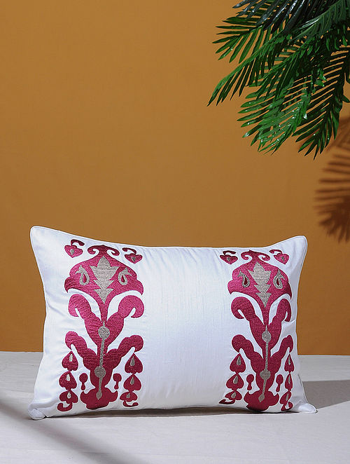 Ikat Inspired White Poly-Dupion Cushion Cover (18in x 12in)