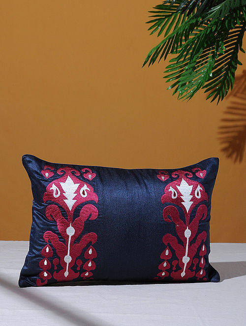Ikat Inspired Navy Poly-Dupion Cushion Cover (18in x 12in)