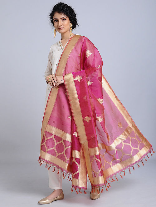 Pink-Golden Handloom Banarasi Cotton Dupatta